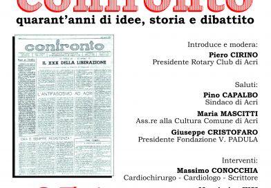 """Confronto: quarant'anni di idee, storia e dibattito"""". A parlarne sarà il Rotary Club di Acri"""